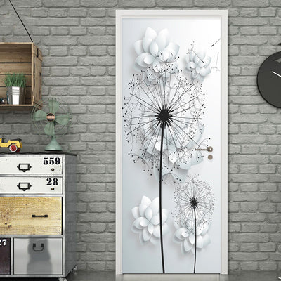 3D Mural Door Stickers Dandelion Flower - Goods Shopi