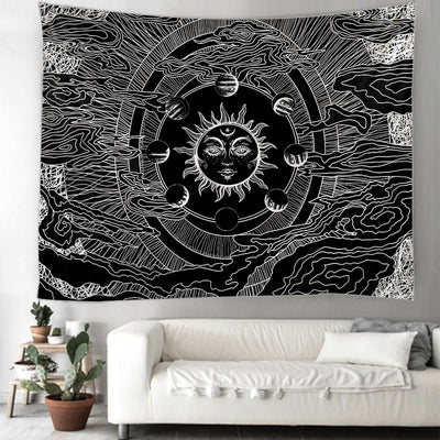 Tapestry wall hanging The Sun Indian Mandala