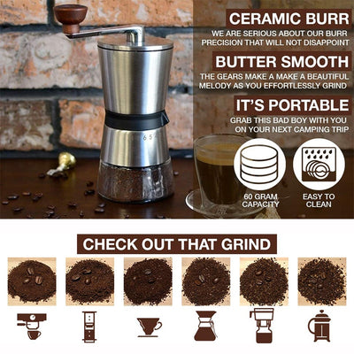 Stainless Steel Hand Crank Manual Coffee Grinder