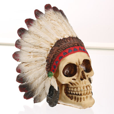 Skull Indian Style Statue Sculpture - Goods Shopi