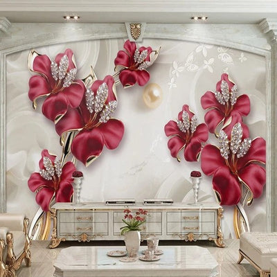 3D Wallpaper Mural Beautiful Flower - Goods Shopi