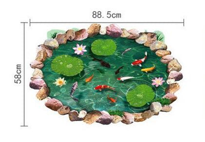 3D lotus floor Sticker pond Fish - Goods Shopi