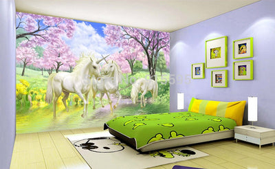 3D Wallpaper Mural Unicorn For Kids Room - Goods Shopi