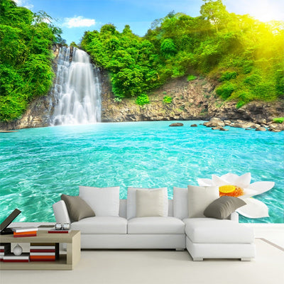 Forest Natural Scenery Waterfall 3D Mural Wallpaper - Goods Shopi