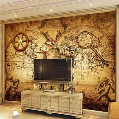 Retro Wallpaper Mural Sailing World Map - Goods Shopi