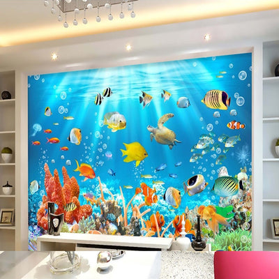 3D Wallpaper Mural Underwater World Fish - Goods Shopi