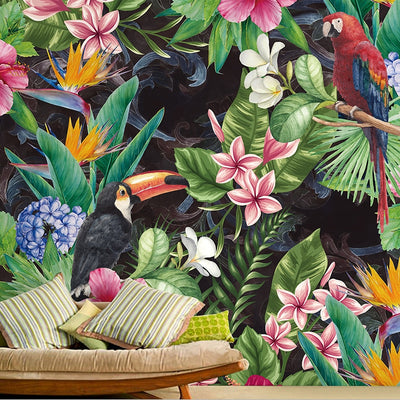 Mural Wallpaper Tropical Rain Forest Parrot Leaf - Goods Shopi