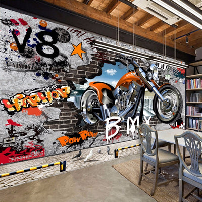 3D Wallpaper Graffiti Mural Motorcycle Street Art - Goods Shopi
