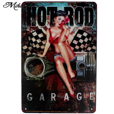 Garage Pin up Lady Route66 Tin sign - Goods Shopi