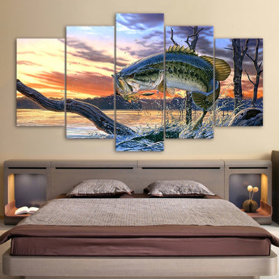 Canvas Wall Art 5 Pieces Fishing Painting - Goods Shopi