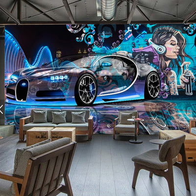 3D Wallpaper Mural Graffiti Sports Car - Goods Shopi