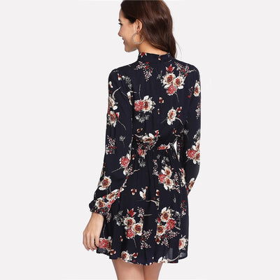 Long Sleeve Autumn Floral Women Dresses - Goods Shopi