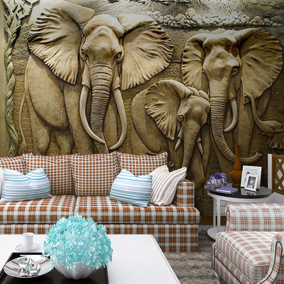 3D Elephants Mural Wallpaper - Goods Shopi