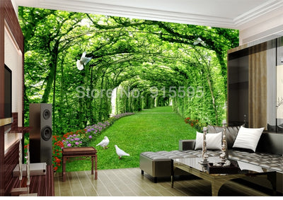 3D Wallpaper Green Forest Tree Tunnel Lawn - Goods Shopi