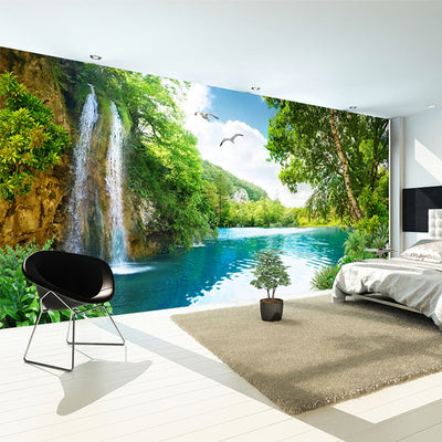 Mural Wallpaper Waterfall Nature Landscape - Goods Shopi