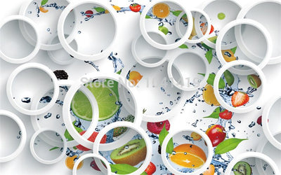 3D Wallpaper Mural White Ring Cycle Fruits Abstract - Goods Shopi