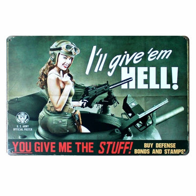 Pin up Lady Tin sign Art  wall - Goods Shopi