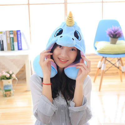 Hooded Unicorn Travel Pillow - Goods Shopi