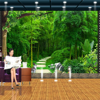 Green Forest Bamboo 3D Mural Wallpaper - Goods Shopi