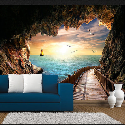Beautiful Sunset Cave Landscape  Mural Wallpaper - Goods Shopi