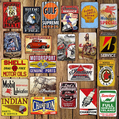 Motor Oil Tin SIGN Route 66 - Goods Shopi