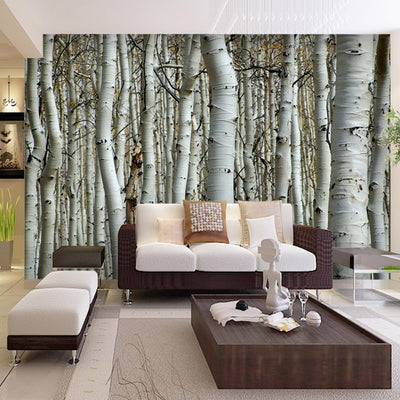 3D Mural Wallpaper Natural Landscape Birch Forest - Goods Shopi