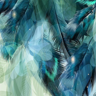 3D Wallpaper Mural  Abstract Art Blue Feather - Goods Shopi