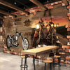 3D Mural Wallpaper Retro Motorcycle Brick - Goods Shopi