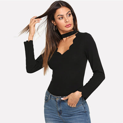 Black V Neck Long Sleeve Women Tops & Tees - Goods Shopi
