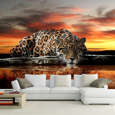 3D Wallpaper Mural Leopard - Goods Shopi