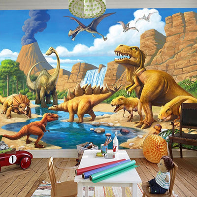 3D Cartoon Mural WallPaper Dinosaur Children's Room - Goods Shopi