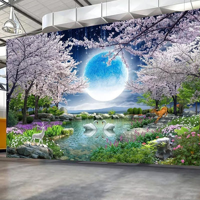 Moon Cherry Blossom 3D Mural Wall Paper - Goods Shopi
