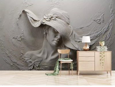 Mural Wallpaper Beauty Lady Gray Modern Art - Goods Shopi