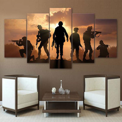 5 Piece military Painting soldiers Canvas - Goods Shopi