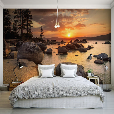 3D Wallpaper Sunset Rock Seaside Landscape - Goods Shopi