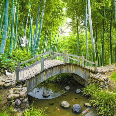 Mural Wallpaper 3D Nature Scenery Forest Bridge - Goods Shopi