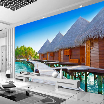 Mural Wallpaper 3D Seaside Landscape Wooden Bridge - Goods Shopi