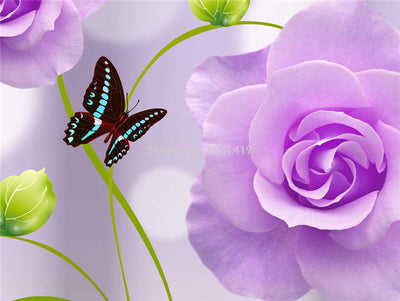 3d Wallpaper Purple Rose - Goods Shopi