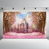 Cherry Pink Flowers Rainbow Castle  Backdrop