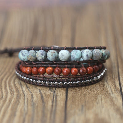 Handmade Leather Wrap Bracelets natural Stone - Goods Shopi