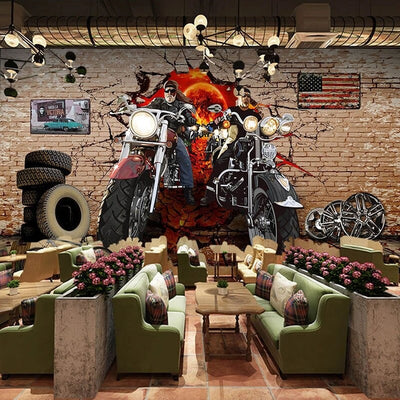 3D Mural Wallpaper Harley motorcycle