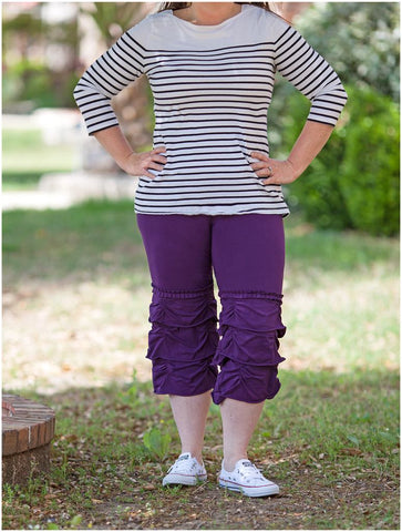 Deep Plum Women's Gathered Capris
