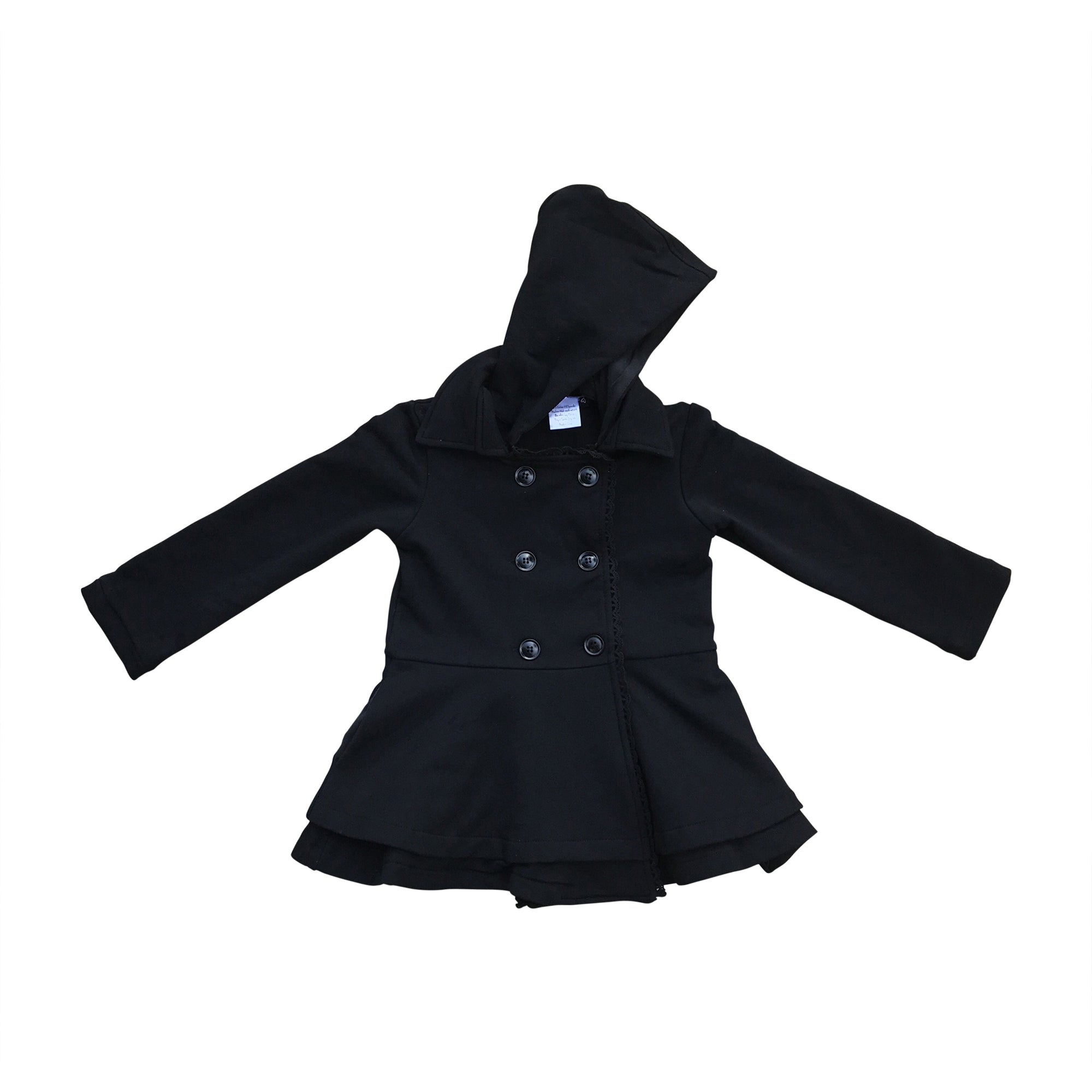 Black Penelope Ruffle Coat