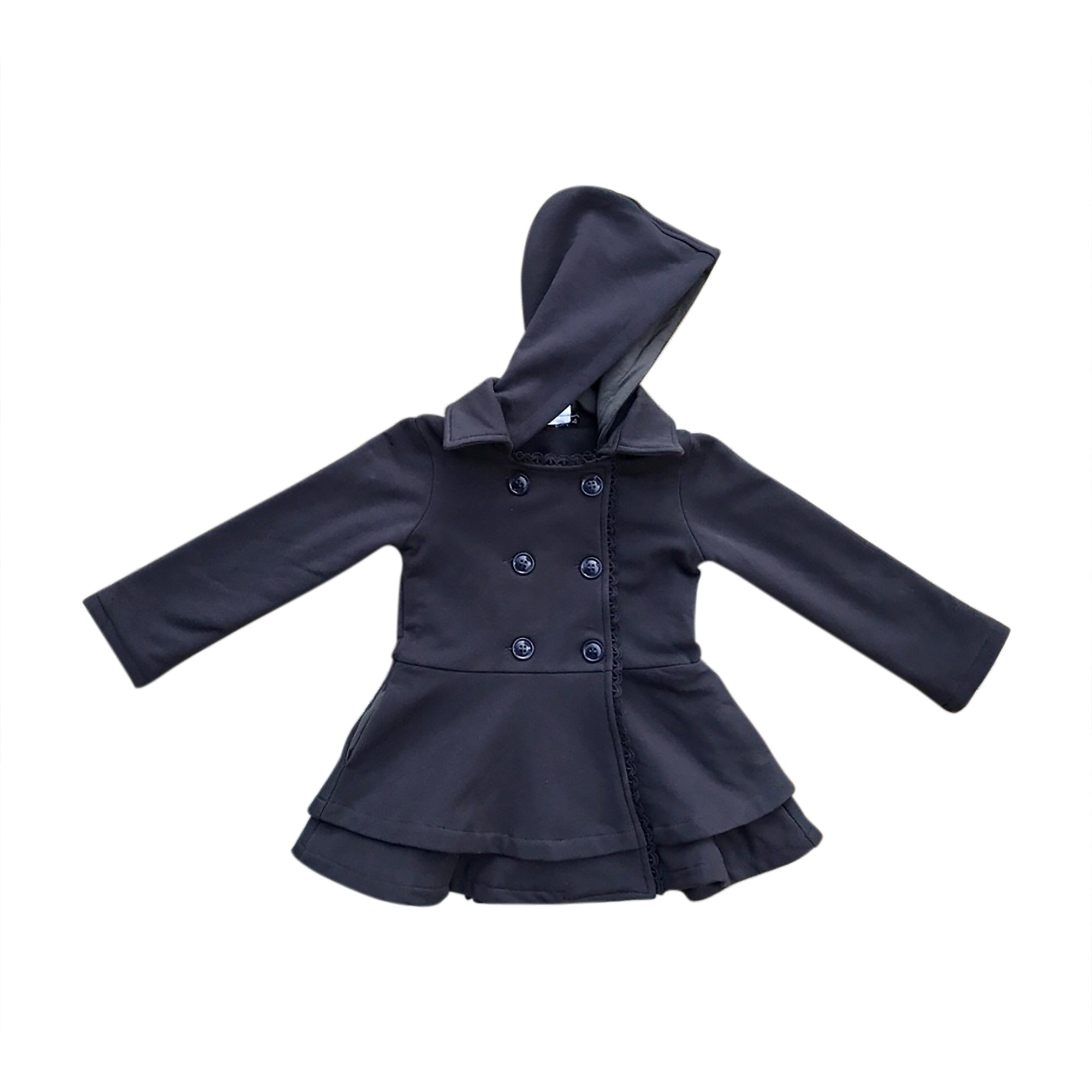 Dark Grey/Charcoal Penelope Ruffle Coat