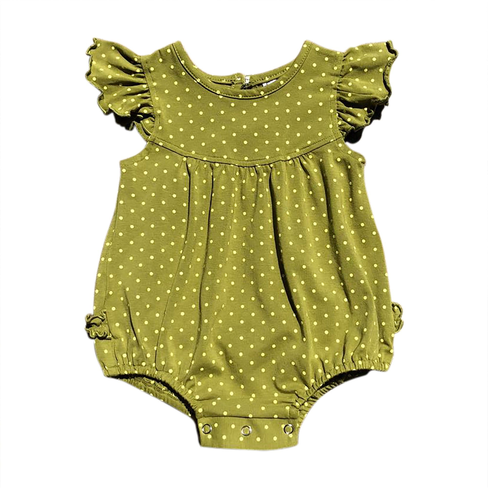 Olive w/ Lime Polka Dots Bubble