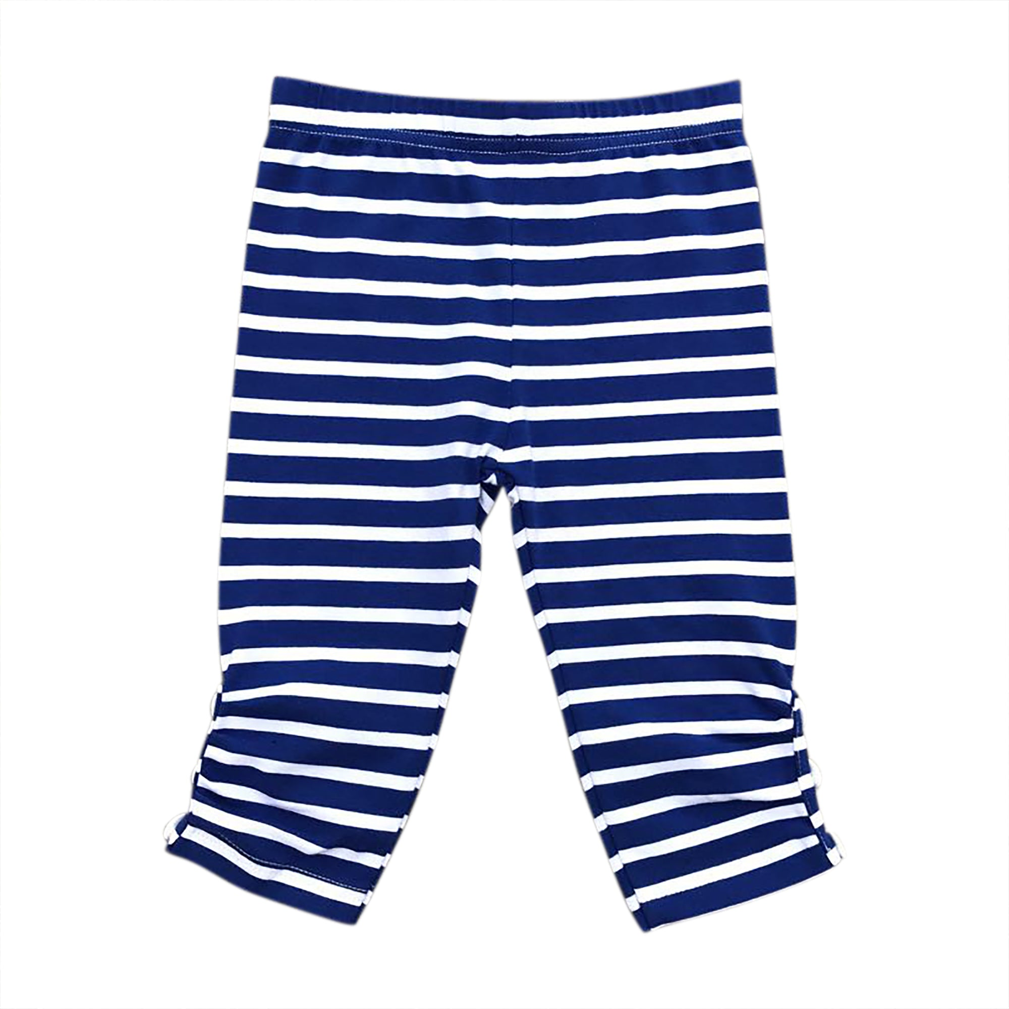 Royal Blue/White Stripe Sprinkle Button Capris
