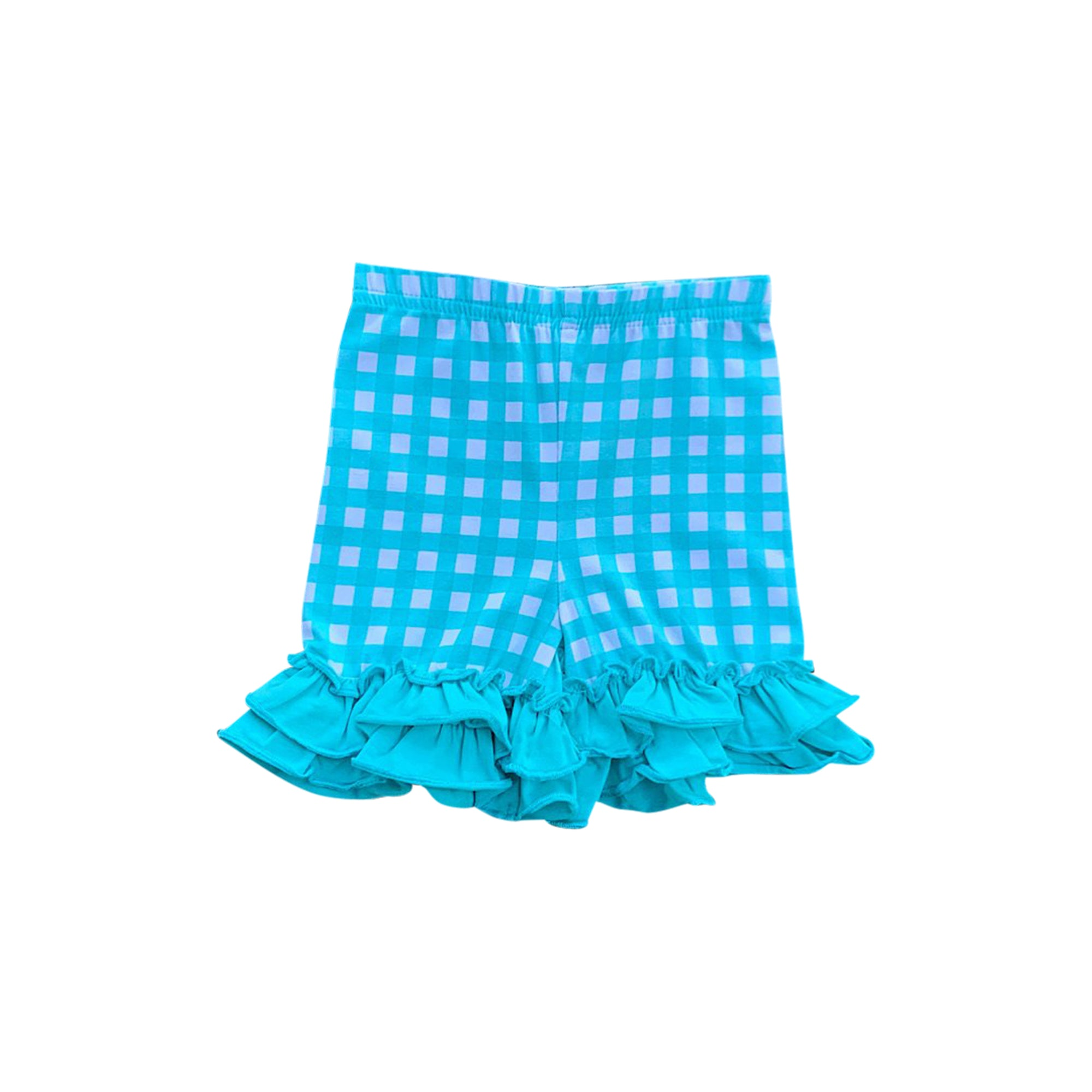 Teal Gingham Ruffle Shorties