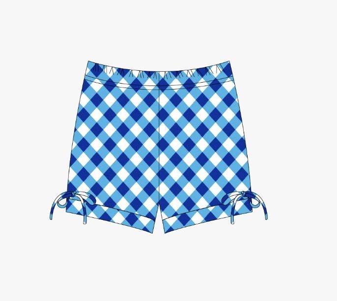 Blue Poppy Gingham Honey Bun Shorts