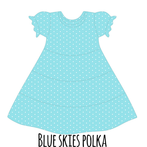 *PRE-SALE* Blue Skies w/ White Polka Dots Suzy May Dress