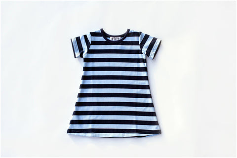 Dark Blue/Light Blue Stripe Short Sleeve Gown